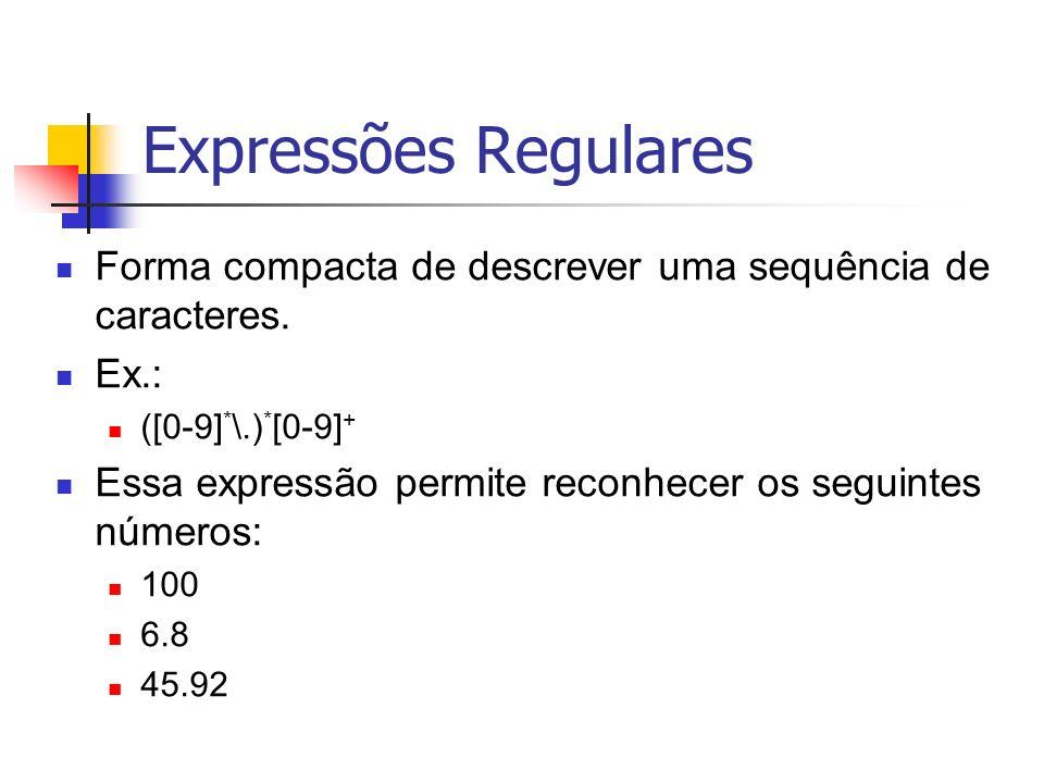 Expressões Regulares Forma compacta de descrever uma sequência de caracteres. Ex.: ([0-9]*\.)*[0-9]+